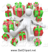 Clip Art of a 3d White Man Laying Red and Green Christmas Presents by 3poD