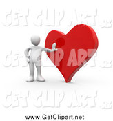 Clip Art of a 3D White Man Leaning Against a Reflective Red Heart by 3poD