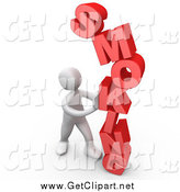 Clip Art of a 3d White Man Pushing a Red SMOKING Word by 3poD
