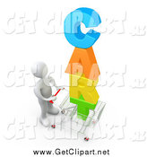 Clip Art of a 3d White Man Pushing a Shopping Cart with Colorful Text by 3poD