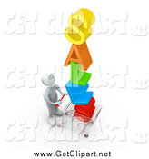 Clip Art of a 3d White Man Pushing a Shopping Cart with the Colorful Word SALES in the Cart, Getting Great Deals During a Store Promotion by 3poD