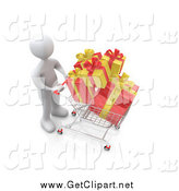 Clip Art of a 3d White Man Pushing a Shopping Cart with Yellow and Red Christmas Gifts by 3poD