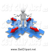 Clip Art of a 3d White Man Shrugging on Blue Puzzle Pieces with Arrows Pointing in Different Directions by 3poD