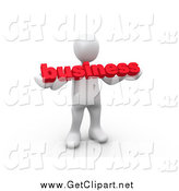 Clip Art of a 3d White Man Standing and Holding a Red Business Sign by 3poD