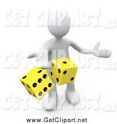 Clip Art of a 3d White Man Tossing up a Pair of Yellow Dice, Symbolizing Chance and Risk by 3poD
