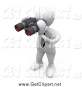 Clip Art of a 3d White Man Using Binoculars by 3poD