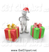 Clip Art of a 3d White Man Wearing a Santa Hat and Rubbing Their Chin, Trying to Guess What Their Christmas Gifts Are by 3poD