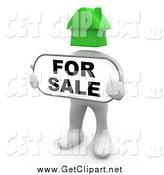 Clip Art of a 3d White Man with a Green House Head, Holding a for Sale Sign by 3poD