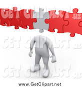 August 11th, 2014: Clip Art of a 3d White Man with a Puzzle Piece As a Head, Connected to Red Pieces by 3poD
