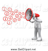 Clip Art of a 3d White Man with a Red Megaphone Head, Shouting out Information by 3poD