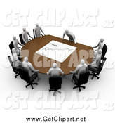 Clip Art of a 3d White Manager Leaning over a Table at a Meeting, Discussing the Stats by 3poD