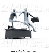 Clip Art of a 3d White Manager Stretching out His Arm and Legs over a Desk to Fire and Kick out an Employee by 3poD