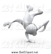Clip Art of a 3d White Music Note Headed Person Listening to Tunes Through Headphones and Break Dancing by 3poD
