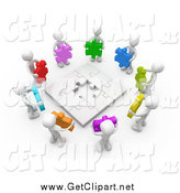 Clip Art of a 3d White People Holding Puzzle Pieces Around a Nearly Completed Puzzle by 3poD