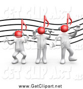 Clip Art of a 3d White People with Red Music Note Heads Against a Staff by 3poD