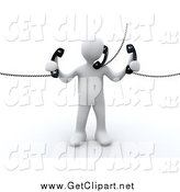 Clip Art of a 3d White Person Holding and Talking on Three Corded Telephones by 3poD