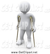 Clip Art of a 3d White Person Using Crutches by 3poD