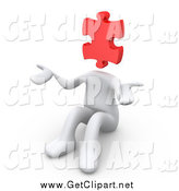Clip Art of a 3d White Person with a Red Jigsaw Puzzle Piece Head, Sitting and Shrugging by 3poD