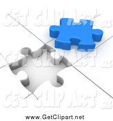 Clip Art of a 3d White Puzzle with an Open Space by 3poD