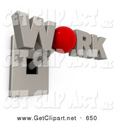 Clip Art of a 3d WORK Switch with a Red O Knob by 3poD