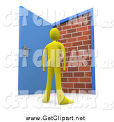 Clip Art of a 3d Yellow Person Standing at an Open Door, Only to Find a Brick Wall, yet Another Obstacle by 3poD