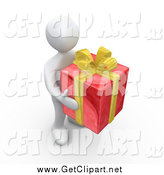 Clip Art of a 3e White Man Carrying a Red and Yellow Present by 3poD
