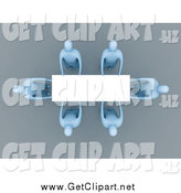 Clip Art of a Aerial View of 3d Blue People Holding a Blank Sign by 3poD