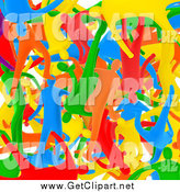 Clip Art of a Background of 3d Diverse Colorful People Mixed in by 3poD