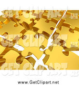 Clip Art of a Background of 3d Gold Puzzle Pieces with Space Between, over White by 3poD