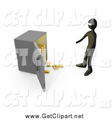Clip Art of a Bank Robber Before an Open Safe, Gold Bars Spilling out by 3poD
