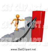 Clip Art of a Bar Graph and 3d Orange Man Running up by 3poD