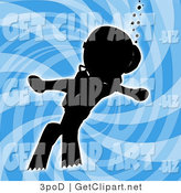Clip Art of a Black Silhouetted Person Swimming Underwater While Scuba Diving, Wearing Goggles, Flippers and an Oxygen Tank over a Blue Background by 3poD