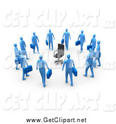 Clip Art of a Circle of 3d Blue Businessmen Carrying Briefcases, Staring at an Empty Chair by 3poD