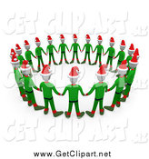 Clip Art of a Circle of 3d Christmas Elves Holding Hands by 3poD