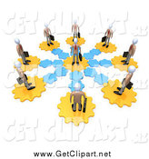 Clip Art of a Circle of 3d Employees on Gears, All Connecting to the Middle Man by 3poD