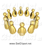 Clip Art of a Circle of 3d Golden Businessmen Avatars in a Support Group or Meeting by 3poD