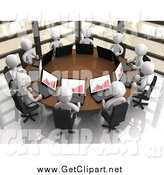 Clip Art of a Circle of 3d White Business People with Bar Graphs on Their Laptops, Discussing Financials in a Corporate Meeting by 3poD