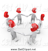 Clip Art of a Circle of 3d White People with Red Euro Heads, Standing in a Circle and Holding Hands by 3poD