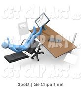 Clip Art of a Clumsy Blue Business Man Falling Backwards After Leaning Too Far Back in a Chair at His Computer Desk While Comparing Graphs on a Printout and on the Computer by 3poD