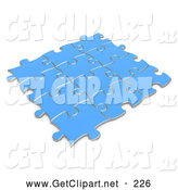 Clip Art of a Completed Blue Puzzle, Pieces Connected Together, Symbolizing Teamwork and Linking by 3poD