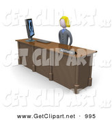 Clip Art of a Friendly and Welcoming Blond Banker Woman Working at a Computer at an Information Desk in an Office by 3poD