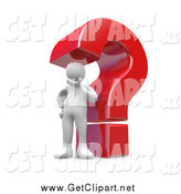 Clip Art of a Giant Red Question Mark and Thinking White Man by 3poD