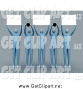 Clip Art of a Group of 3d People Holding up Blank Signs and Dots by 3poD