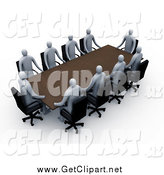 Clip Art of a Group of 3d Professional People Around a Rectangular Meeting Table by 3poD
