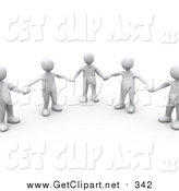 Clip Art of a Group of 3d White People in a Circle, Holding Hands, on a White Background with Shadows by 3poD