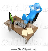 Clip Art of a Lazy 3d Blue Man with His Feet up on an Office Desk by 3poD