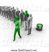 Clip Art of a Line of 3d Gray People Being Painted Green to Become the Same by 3poD