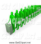 Clip Art of a Line of 3d Green People Holding Ballots and Waiting for Their Turn to Vote by 3poD