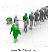 Clip Art of a Line of 3d People Being Painted Green to Become the Same by 3poD