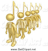 Clip Art of a Line of Gold 3d People with Music Note Heads by 3poD